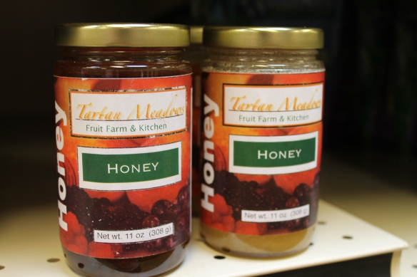 Local honey from Tartan Meadows Fruit Farm and Kitchen purchased at Lucky's Market on Hurstbourne Ln.
