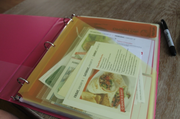 """Front pocket for all my """"need to be filed"""" recipes."""