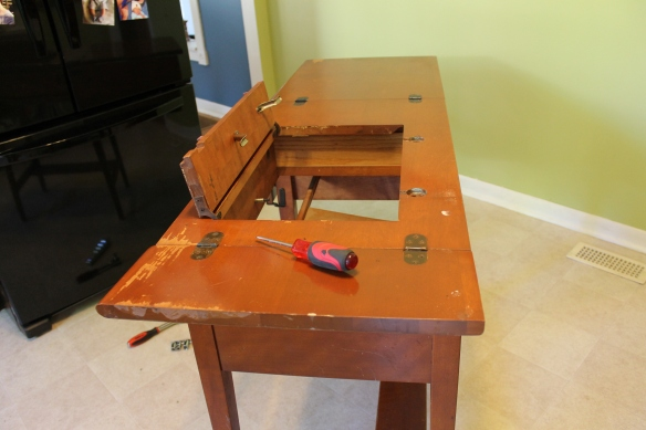 So, first, I removed the sewing machine - it weighed about 25lbs!