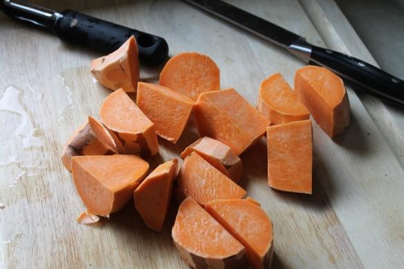 Peeled and diced 2 sweet potatoes