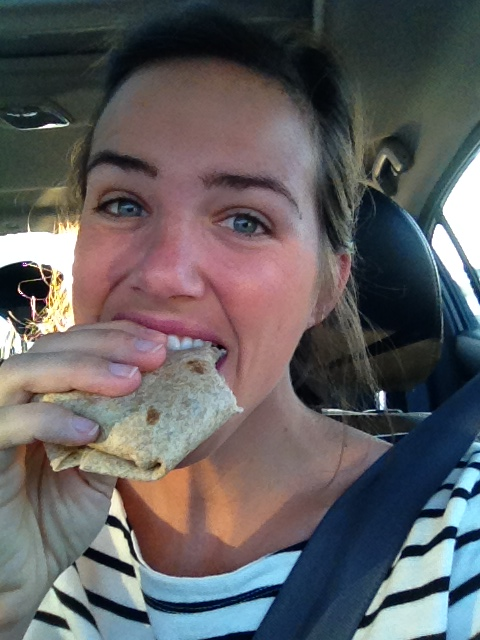 Enjoying my protein packed burrito on the way to work!